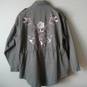 En creme embroidered oversized flak field jacket.
